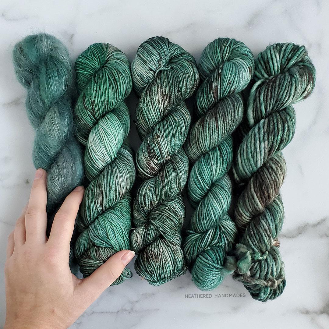 Evergreen—YARN—Heathered-Handmades—detail